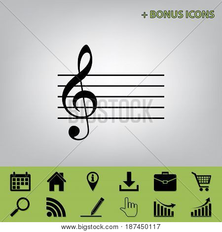 Music violin clef sign. G-clef. Vector. Black icon at gray background with bonus icons at celery ones