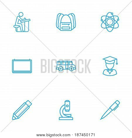 Set Of 9 Studies Outline Icons Set.Collection Of School Board, Backpack, Bus And Other Elements.