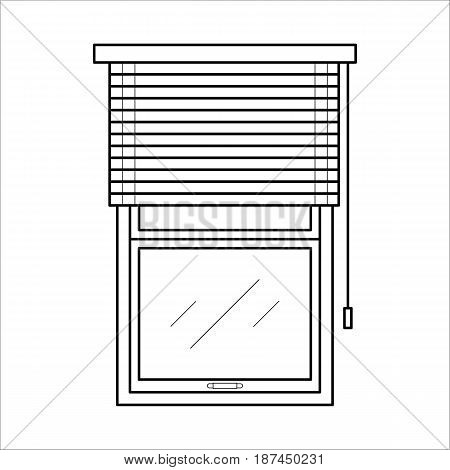 Vector black icon of blinds for house interior. Jalousie for home decoration in thin linear style. Window horizontal louvers - curtain for room, office. Flat illustration isolated on white background.