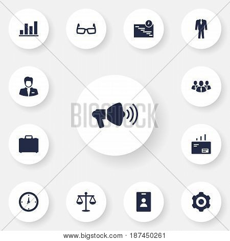 Set Of 13 Enterprise Icons Set.Collection Of Message, Speaker, Colleagues And Other Elements.