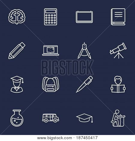 Set Of 16 Science Outline Icons Set.Collection Of Learning, School Board, Bus And Other Elements.