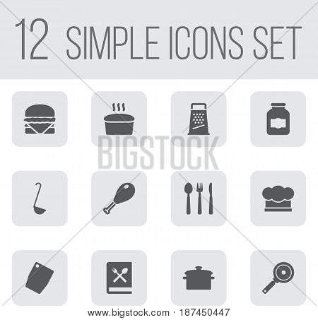 Set Of 12 Cooking Icons Set.Collection Of Silverware, Non-Stick, Loaf And Other Elements.