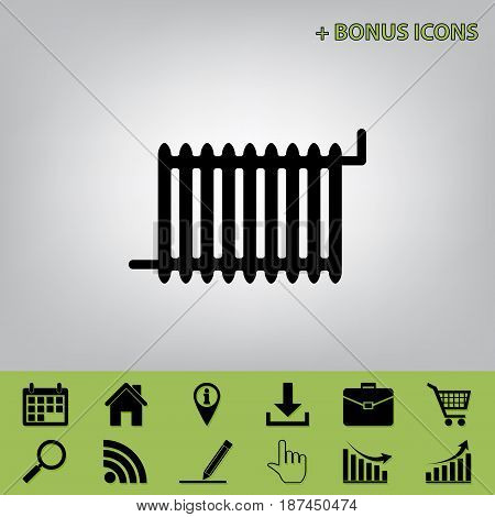 Radiator sign. Vector. Black icon at gray background with bonus icons at celery ones