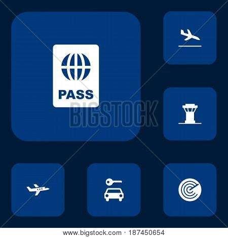 Set Of 6 Airplane Icons Set.Collection Of Letdown, Aircraft, Automobile And Other Elements.