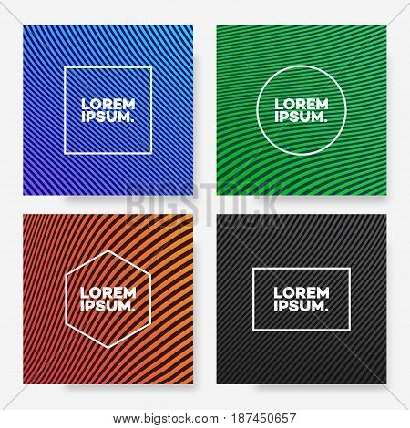 Cover design template set square shape with abstract lines different gradient color minimal style for decoration presentation, flyer, catalog, poster, brochure, book, magazine. Vector Illustration