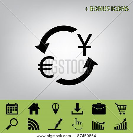 Currency exchange sign. Dollar and Euro. Vector. Black icon at gray background with bonus icons at celery ones