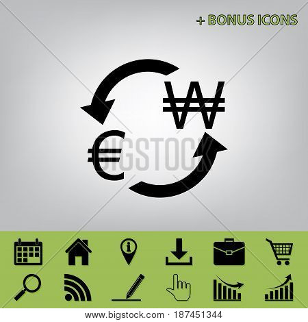 Currency exchange sign. Euro and South Korea Won. Vector. Black icon at gray background with bonus icons at celery ones