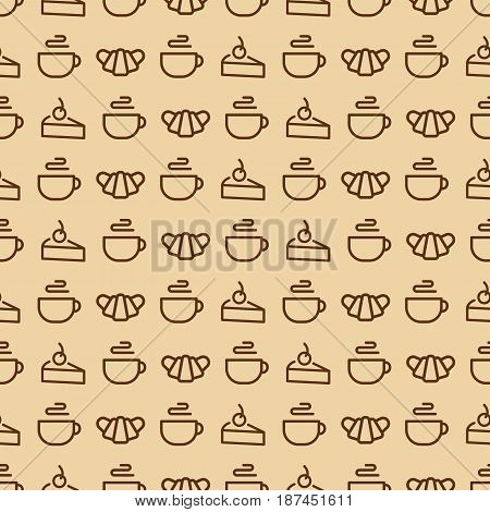 Sweets seamless pattern consisting of croissant, cup of tea, cake line style on yellow background for bakery, cafe, cupcake firm, coffee shop, loaf store, bread house, food market. Vector Illustration