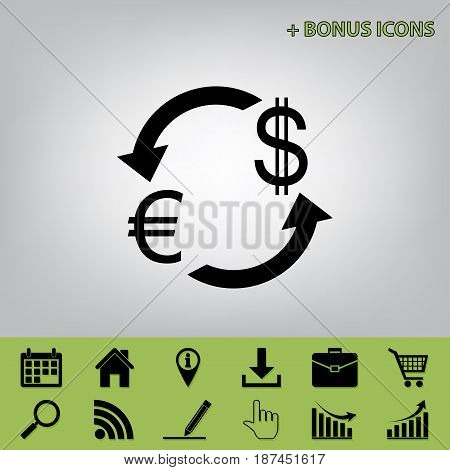 Currency exchange sign. Euro and US Dollar. Vector. Black icon at gray background with bonus icons at celery ones