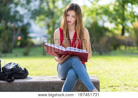 Young female student at the park