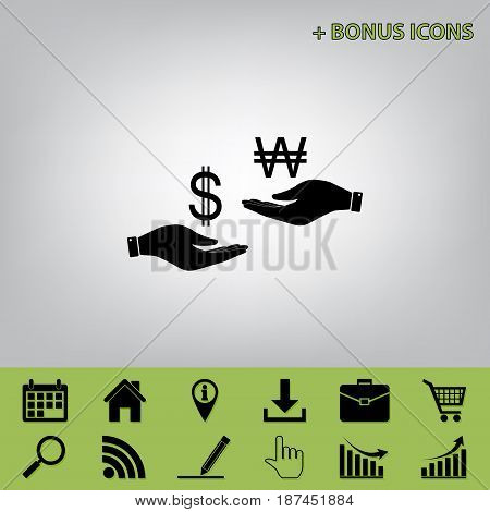 Currency exchange from hand to hand. Dollar and South Korea Won. Vector. Black icon at gray background with bonus icons at celery ones