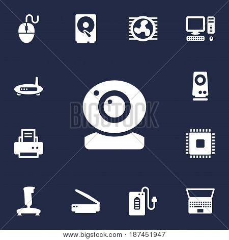 Set Of 13 Laptop Icons Set.Collection Of Router, Photocopy, Record And Other Elements.
