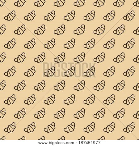 Croissant seamless pattern line style on brown background for bakery, cafe, cupcake firm, loaf store, bread house, coffee shop, food market. Vector Illustration