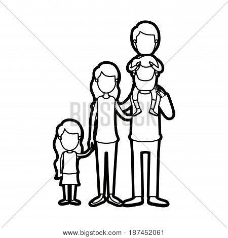 caricature thick contour faceless big family parents with boy on his back and daugther taken hands vector illustration