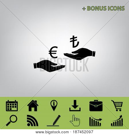 Currency exchange from hand to hand. Euro and Lira. Vector. Black icon at gray background with bonus icons at celery ones