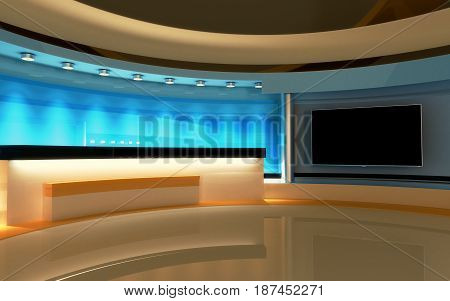 Studio. Tv Studio. News Room. Breaking News. 3D Rendering.