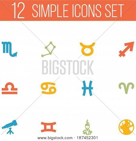 Set Of 12 Horoscope Icons Set.Collection Of Binoculars, Zodiac Sign, Fishes And Other Elements.