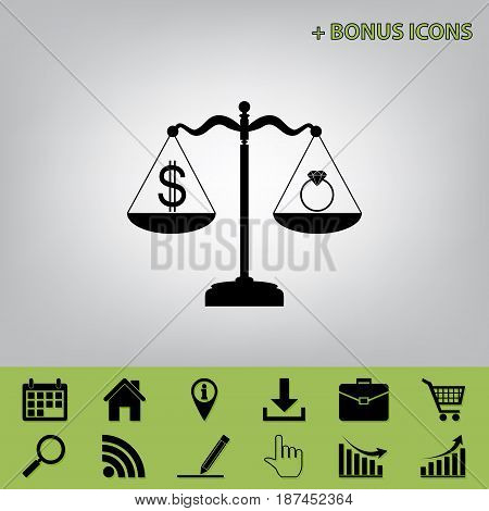 Ring jewelery and dollar symbol on scales. Vector. Black icon at gray background with bonus icons at celery ones