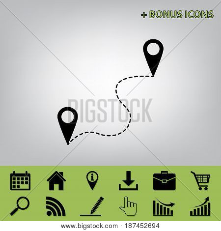 Location pin navigation map, gps sign. Vector. Black icon at gray background with bonus icons at celery ones