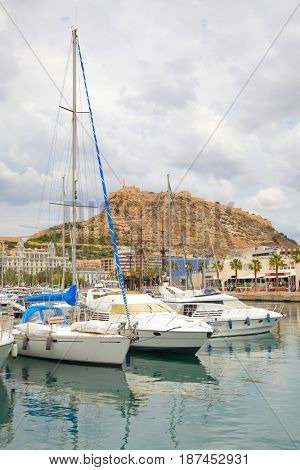 Yachts in port of Alicante, Spain