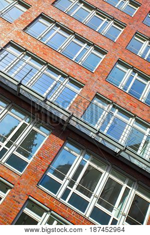 Wall with windows of modern apartment building, Germany