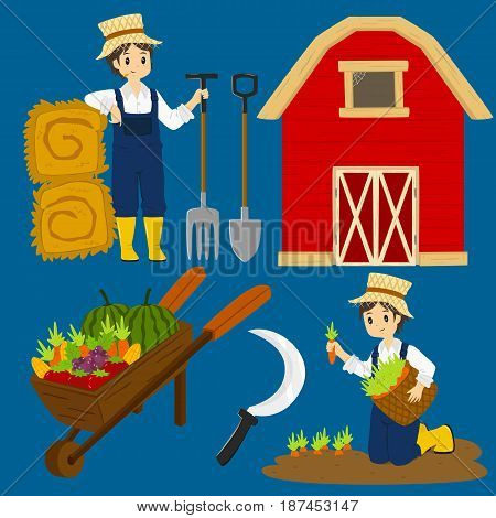 farmer character, vegetables and items vector collection