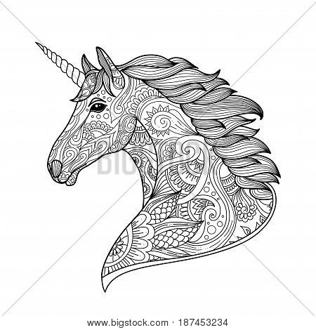 Drawing Unicorn Zentangle Style For Coloring Book, Tattoo, Shirt Design, Logo, Sign. Stylized Illust
