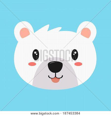 cute and happy polar bear vector on blue background