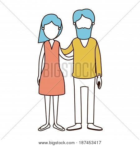 caricature faceless color sections and blue hair of full body couple woman with wavy short hair in skirt and man embracing couple vector illustration