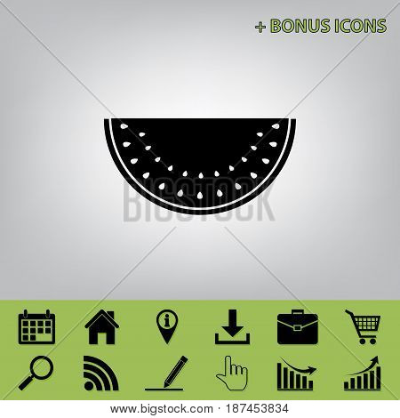 Watermelon sign. Vector. Black icon at gray background with bonus icons at celery ones
