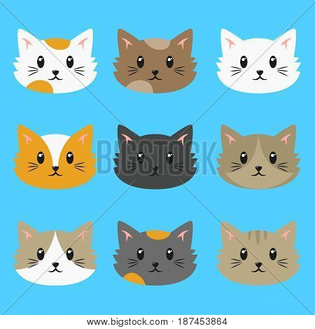 set of cute cats vector collection with different fur colors.