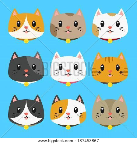 set of cute cats vector wearing bell collar collection with different fur colors.