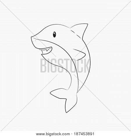 cute shark line art vector on white background