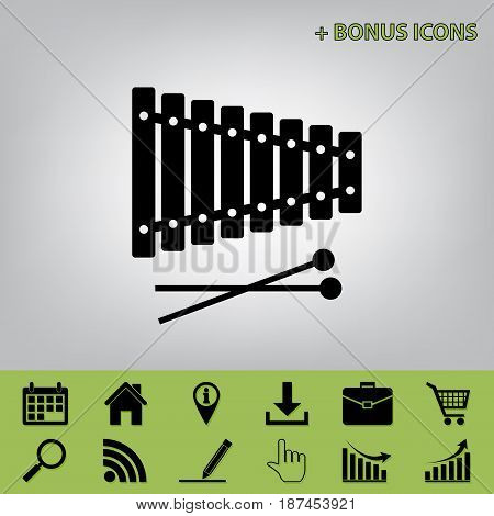 Xylophone sign. Vector. Black icon at gray background with bonus icons at celery ones