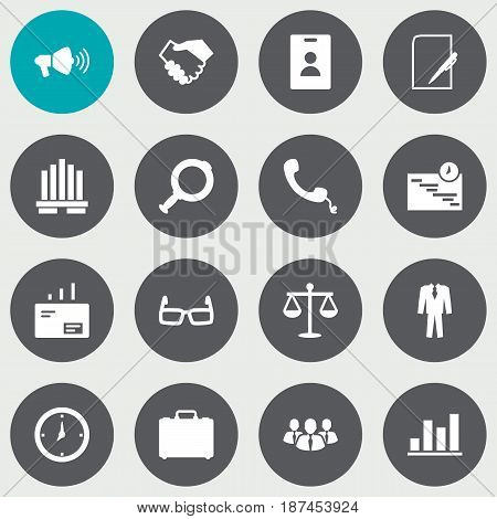 Set Of 16 Business Icons Set.Collection Of Loupe, Speaker, Id Card And Other Elements.