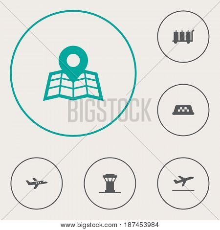 Set Of 6 Airplane Icons Set.Collection Of Carriage, Leaving, Location And Other Elements.