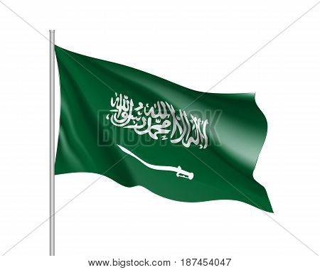 Waving flag of Kingdom of Saudi Arabia. Illustration of Asian country flag on flagpole. Vector 3d icon isolated on white background