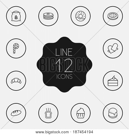Set Of 12  Outline Icons Set.Collection Of Bread, Pudding, Flour And Other Elements.