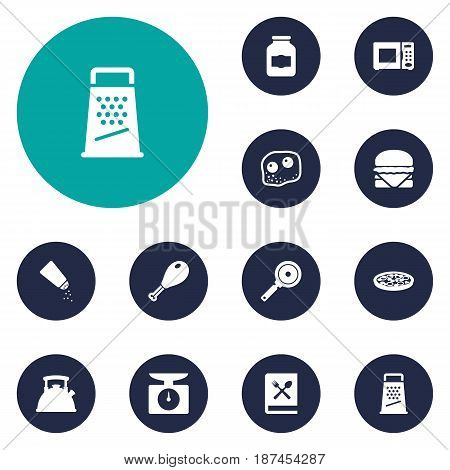 Set Of 12 Cooking Icons Set.Collection Of Weighing Machine, Pepperoni, Electronic Oven And Other Elements.
