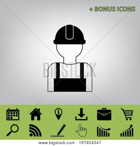 Worker sign. Vector. Black icon at gray background with bonus icons at celery ones
