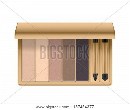 Realistic eyeshadow palette with brush. Package with eye shadow for nude makeup shiny nature colors. Containers of cosmetic product for beauty eyes. Vector illustration isolated on white background.
