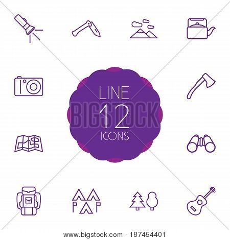 Set Of 12 Picnic Outline Icons Set.Collection Of Ax, Photographing, Guitar And Other Elements.