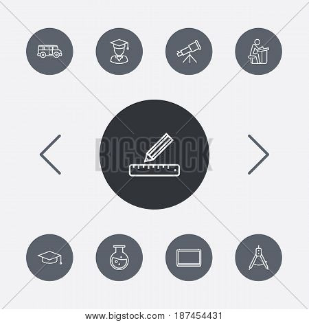 Set Of 9 Education Outline Icons Set.Collection Of Graduated, Graduation Cap, Test Tube And Other Elements.