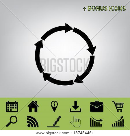 Circular arrows sign. Vector. Black icon at gray background with bonus icons at celery ones