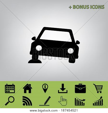 Car parking sign. Vector. Black icon at gray background with bonus icons at celery ones