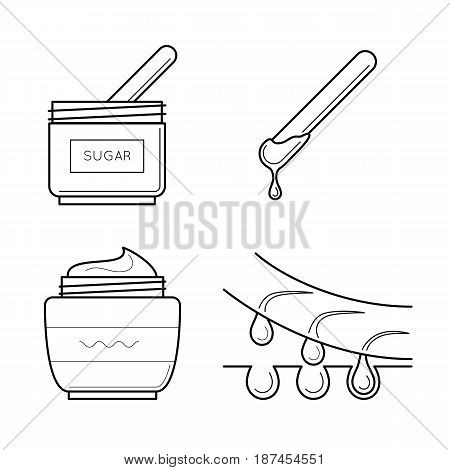 Vector icons set of tools for sugaring procedure. Cosmetic equipment for epilation sticks, sugar and aftershave cream. Spa symbol in thin line style. Outline simple illustrations isolated on white
