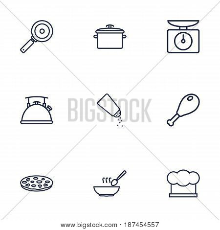 Set Of 9 Cooking Outline Icons Set.Collection Of Chicken Leg, Kettle, Hat And Other Elements.