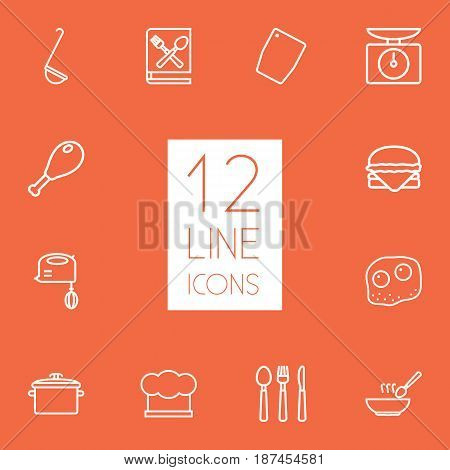 Set Of 12 Culinary Outline Icons Set.Collection Of Soup, Hamburger, Cutlery And Other Elements.