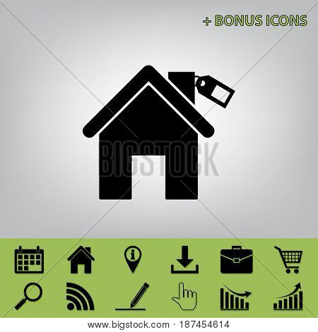 Home silhouette with tag. Vector. Black icon at gray background with bonus icons at celery ones