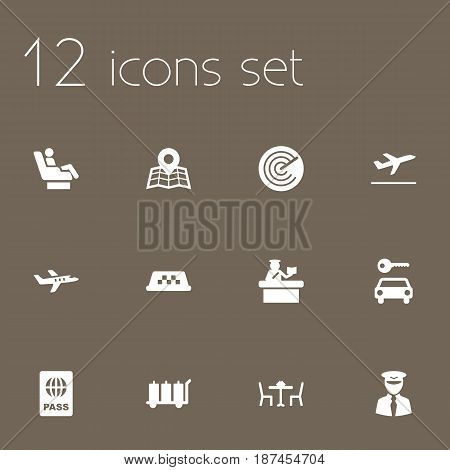 Set Of 12 Aircraft Icons Set.Collection Of Vip, Cab, Security And Other Elements.